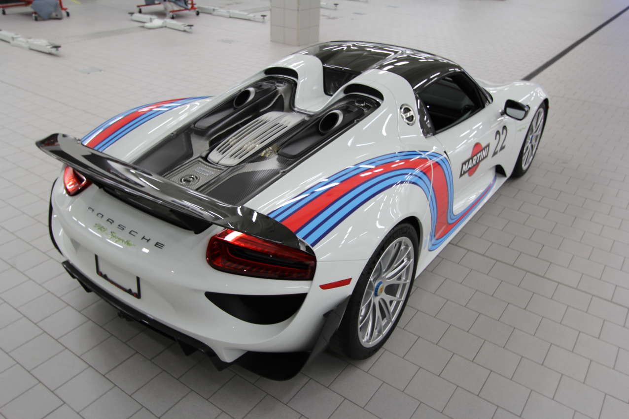 Porsche 918 Spyder Weissach Pkg In Martini Livery For Sale